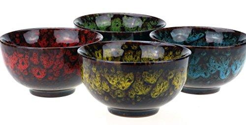 4 x Teeschale  Teebecher  Teetasse  Teacup - Set Takumi aus Keramik in rot  gelb  grün  blau