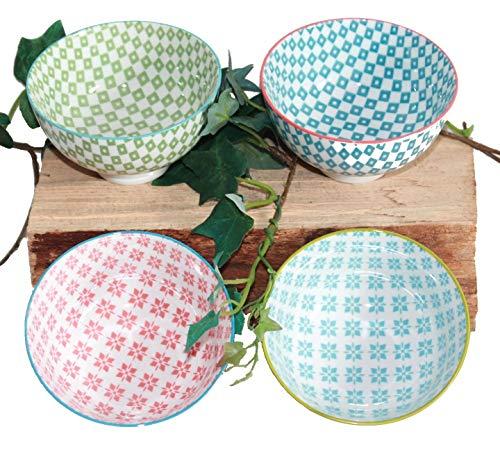 AAF Nommel Japanische Teeschalen 5-er Set Porzellan Retro Design Blumen Nr 053