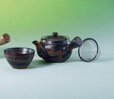 Teekanne Ling Inhalt 04 L Keramik mit 2 Teeschalen 01 L mit Edelstahlsieb