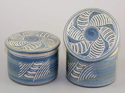 original französische wassergekühlte keramik butterdose ca 250g butter dekor bri-sonnenrad Z-G