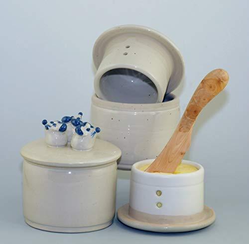 original französische wassergekühlte keramik butterdose zylinderförmig für 250 g butter drei mäuse auf dem deckel drei mäuse Z-G