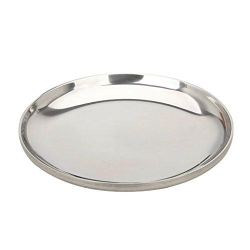 MagiDeal Edelstahl Dekotablett Dekoteller Tablett Rund Serviertablett Kerzentablett Obstschalen Glatt für BBQ Pizza - Silber glatt 205x21x05cm