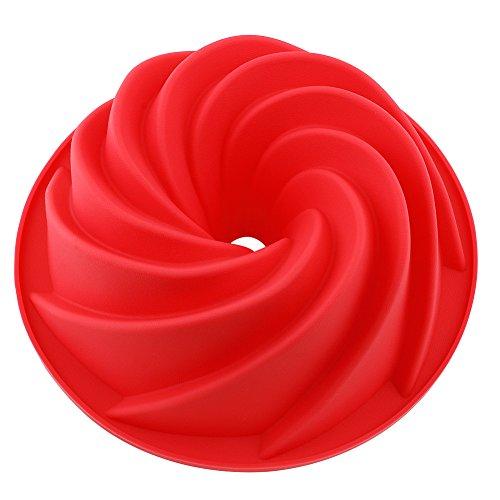 Vicloon Silikon Gugelhupfform Bundform und Muffinform für Muffins Cupcakes Pudding und Eiswürfel Backform 25 cm Rot