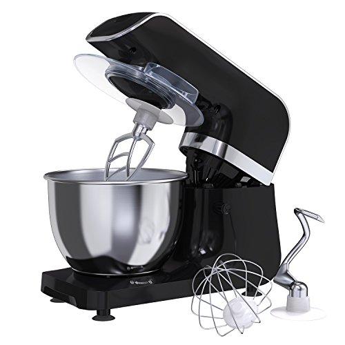 MLITER 800W Küchenmaschine Teig Knetmaschine Rührmaschine mit 40L Edelstahl-Rührschüssel Spritzschutz Rührhaken Schneebesen und Knethaken 6-stufig einstellbare Geschwindigkeit Schwarz