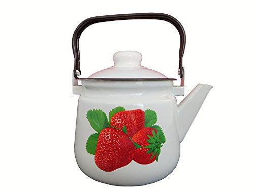 Emaille Teekanne Kaffeekanne 15 Liter ca 14cm Durchmesser  Retro Nostalgie Geschirr