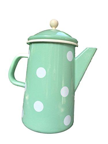 Münder-Emaille - Kaffeekanne - Teekanne - Mint mit weißen Tupfen - Ø12xH23cm - 16 L