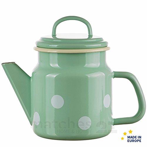 matches21 Trendige Email Teekanne  Kaffeekanne grün gepunktet nostalgisches Emaille Geschirr je 17x12 cm  1000 ml