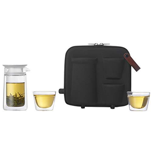 ZENS Teekanne Glas Tragbare Teeflasche mit Sieb Teezubereiter mit 2 x doppelwandigen Tasse 1x Tragetasche für Reise Picknick Camping unterwegs Mobiles Mond-Teeservice