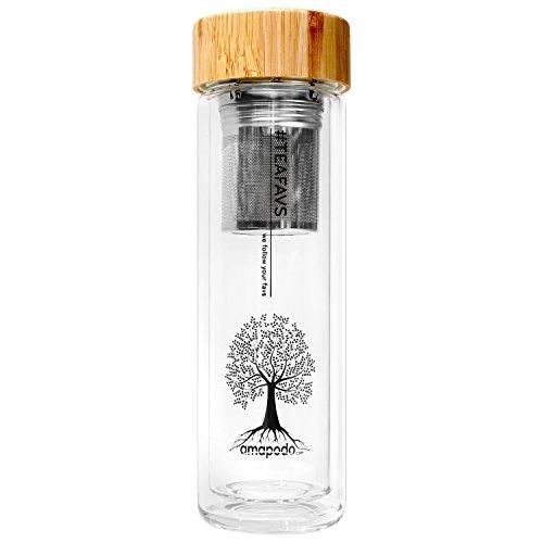 amapodo Teekanne Glas 400ml doppelwandig mit Edelstahl Tee Sieb Bambus Deckel Teeflasche Teebereiter Trinkflasche