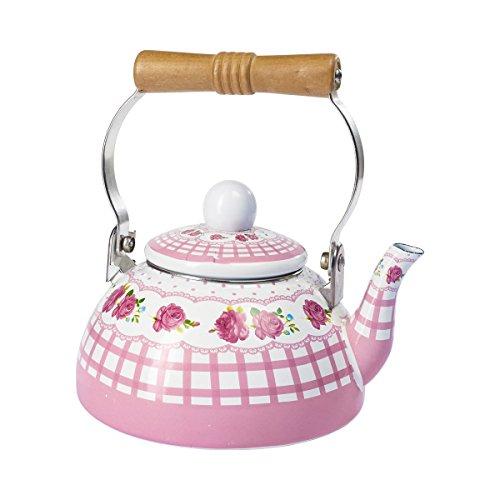 Emaille-Teekessel Wasserkessel nostalgisch  Teekocher Wasserkocher Flötenkessel Wasserkessel Pfeifkessel 13 l Stahl 18x19x15 cm rosa