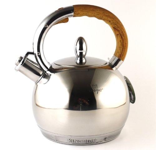 Kinghoff KH-3778 Edelstahl Wasserkessel 3L Induktion Pfeifkessel Flötenkessel Teekessel