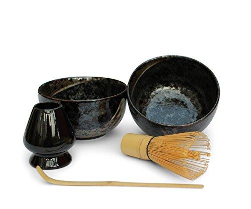 Matche Tee Set 5-teilig Geschenkset 2 X Schale Schwarz Made in Japan Bambus Matcha Lšffel Matcha Bambusbesen Matcha Besenhalter Genie§er Set