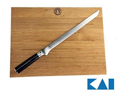 Kai Shun Classic Geschenkset Schinkenmesser DM-0735 30 cm Klinge großes Schneidbrett aus Eiche 40x30 cm