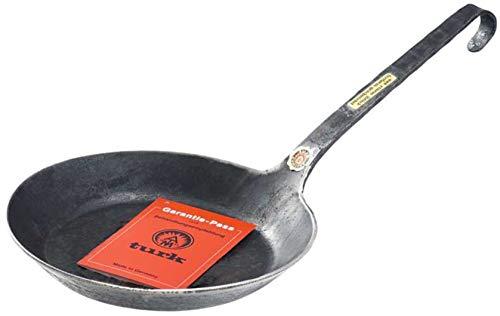 TURK Eisenpfanne Bratpfanne Pfanne mit Stiel freiform HANDGESCHMIEDET ohne Beschichtung 22 cm Ideal auch für Induktion Feuerstelle und Grill