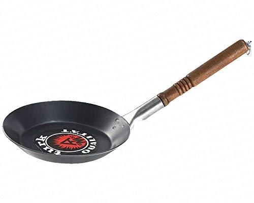 Turk Bratpfanne leichte flache Eisenpfanne Rand Ø 24 cm Boden Ø 19 cm Randhöhe 3 cm lackierter Holzgriff mit Beschlag