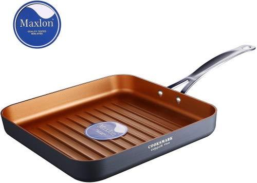 COOKSMARK Copper Pan 26cm Aluminium Grillpfanne Antihaft-beschichtung Spülmaschinenfest Backofen Sicher Tiefe Bratpfanne Steakpfanne Kupferpfanne mit Edelstahlgriff