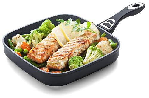 ROSMARINO Grillpfanne für Induktion 26 cm - Bratpfanne mit 5 Lagen Mineralien Beschichtung für alle Kocheflder -No1 Induktionsgeeignete Steakpfanne für Grill