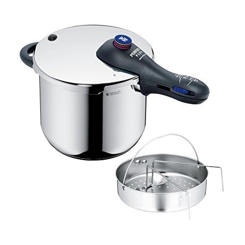 WMF Perfect Plus Schnellkochtopf 65l mit Einsatz Cromargan Edelstahl poliert 2 Kochstufen Einhand-Kochstufenregler induktionsgeeignet spülmaschinengeeignet Ø 22 cm