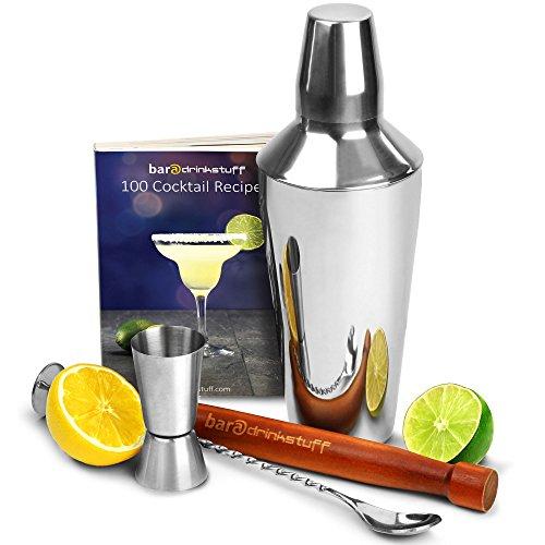 bardrinkstuff Cocktail-Shaker Coktail-Set für Anfänger mit Rezeptbuch für 150 Drinks Manhattan Cocktail-Shaker mit integriertem Sieb Barmaß Holzstößel und gedrehtem Mixlöffel