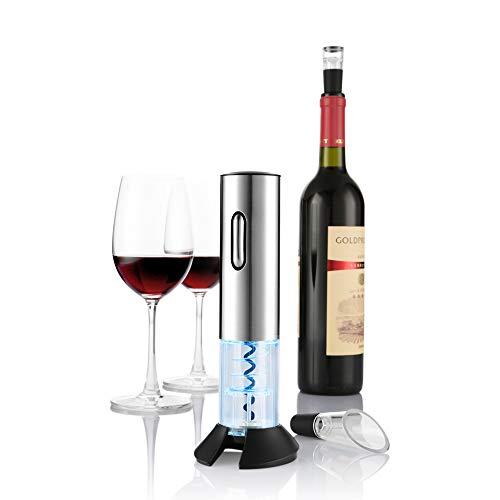 zanmini Elektrischer Korkenzieher Automatischer Weinöffner Weinflaschenöffner Schraubenzieher Set mit Wine Folienschneider Weinausgießer Weinflaschenverschluss - Akkubetrieb Weinöffner 2