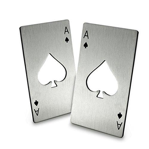 Ganzoo 2er Set Flaschenöffner im Pokerkarten Design aus hochwertiger Edelstahl Kartenwert Pik AS Poker Marke