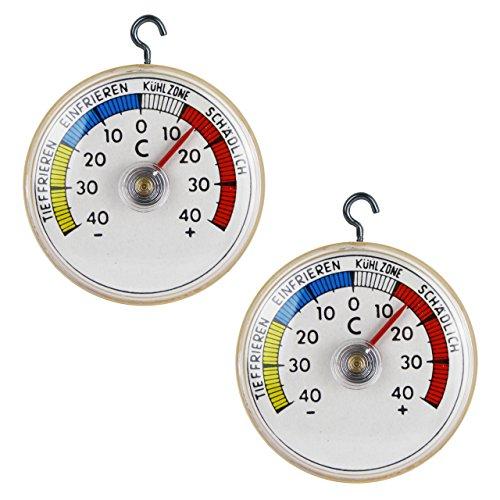 Lantelme 2 St Kühlschrank Thermometer Set Kühlschrankthermometer mit Metall Haken Bimetall und Analog