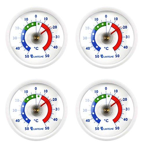 Lantelme 7015 Kühlschrankthermometer 4 Stück Set - Analog Thermometer rund und Farbe weiß