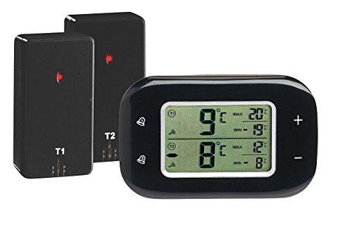 Rosenstein Söhne Kühlschrank Alarm Digitales Kühl- Gefrierschrank-Thermometer 2 Funk-Sensoren schwarz Digitales Kühlschrankthermometer
