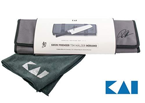 Kai Shun Premier Tim Mälzer 3-TLG Geschenkset TMM-W18 Minamo Santoku TMM-0702  hochwertige Messertasche Premium Poliertuch