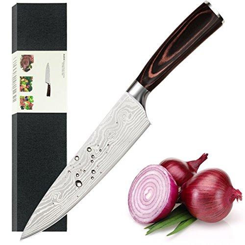 Acelink Kochmesser 20cm Profi Küchenmesser Chefmesser Allzweckmesser aus rostfreiem Edelstahl Klinge aus rasiermesserscharfem Hartstahl und ergonomischer Griff