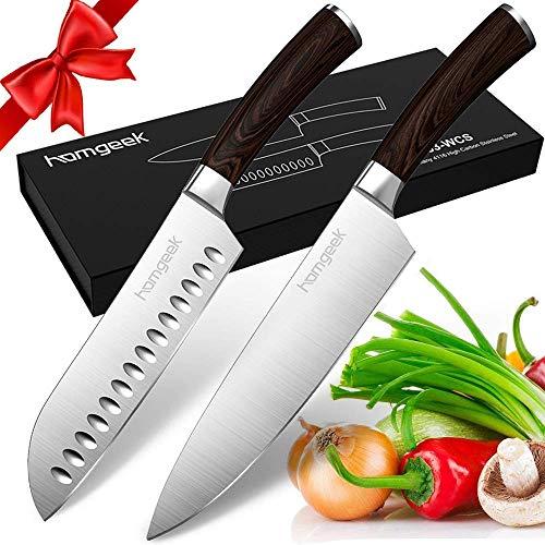 Homgeek Messerset 2-teilg Santokumesser und Küchenmesser Messer aus deutschem Messerstahl Ergonomischer Griff in Echtholzoptik Kochmesser Gemüsemesser Chefmesser Allzweckmesser