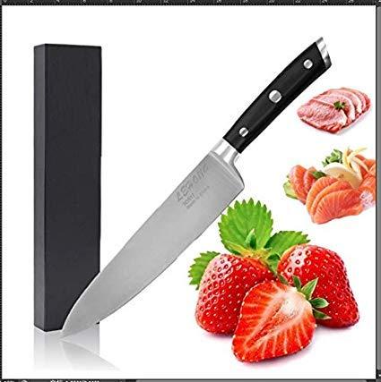 LEHONG Kochmesser Küchenmesser Chefmesser 20 cm Sehr Scharfe Allzweckmesser Klinge Rostfreier Stahl Köche Messer zum SchneidenErgonomischer Griff schwarz