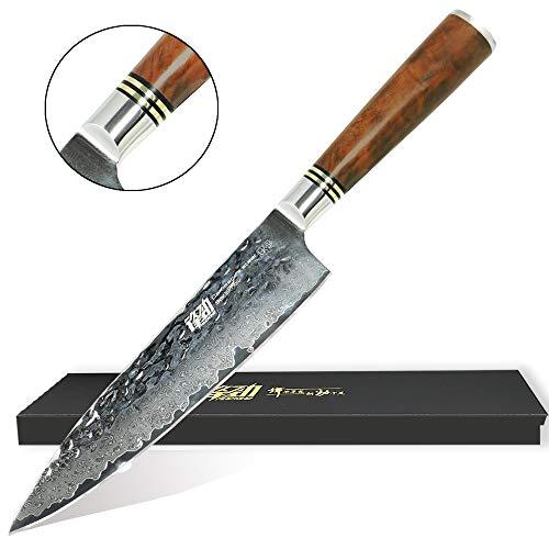 UK-S-Art Damast Küchenmesser 20 cm Hammerschlag-Oberfläche Chefmesser Kochmesser 67 Lagen Edelstahl Rasiermesserscharf mit Edlem Wurzelholz-Griff