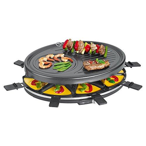 Clatronic RG 3517 Raclette-Grill zum Grillen und Überbacken 8 Pfännchen und 8 Holzspatel Antihaftbeschichtung Stufenlos regelbarer Thermostat max 1400 Watt