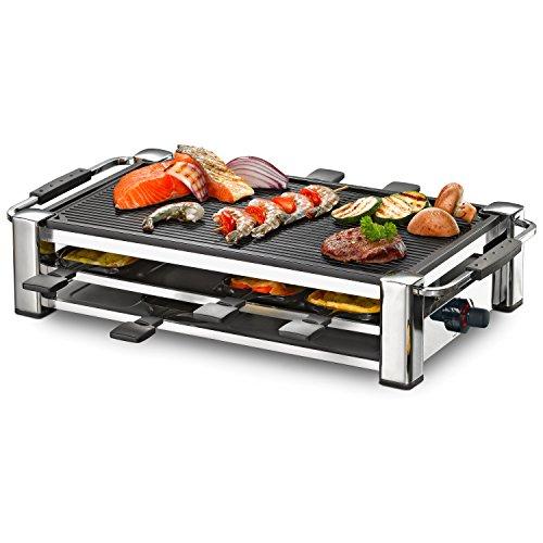 ROMMELSBACHER RCC 1500 Raclette-Grill extra langes Kabel 2m Tischgrill für 8 Personen gerippte Alu-Druckguss-Grillplatte Xylan Plus Antihaftbeschichtung Parkdeck 1500 W chrom