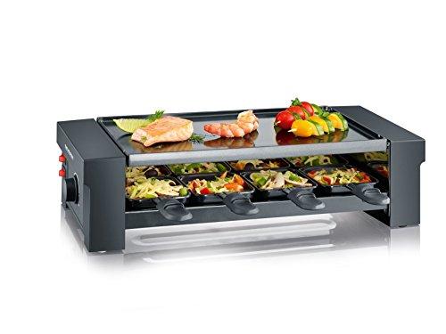 SEVERIN Pizza-Raclette Grill mit Wendegrillplatte ca 1150 W Inkl 8 Pfännchen Pizzateigausstecher und 8 Holzspachteln RG 2687