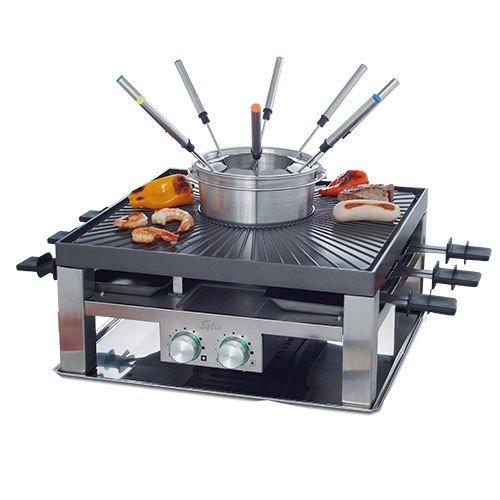 Solis Raclette Tischgrill und oder Fleischfondue 8 Personen Edelstahl Combi-Grill 3 in 1 Typ 796