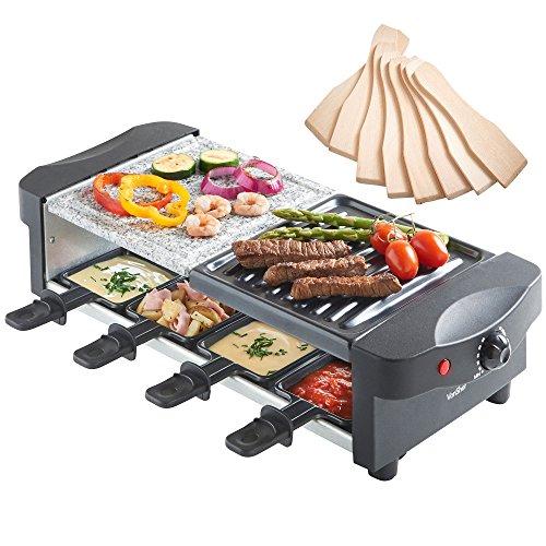 VonShef Raclette mit Naturstein und Grillplatte - flexibler Temperaturregelung 8 Pfännchen 8 Racletteschiebern