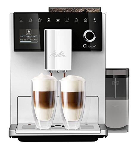 Melitta CI Touch F630-101 Kaffeevollautomat mit Milchbehälter  Flüsterleises Mahlwerk  One Touch Funktion  10 Kaffeevariationen  TFT-Farbdisplay  Silber