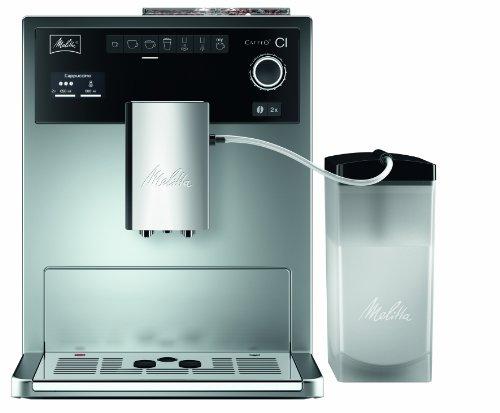 Melitta Caffeo CI E970-101 Kaffeevollautomat  mit Milchbehälter  Zweikammern-Bohnenbehälter  One Touch Funktion  15 Bar  Automatische Reinigungsprogramme  Silber