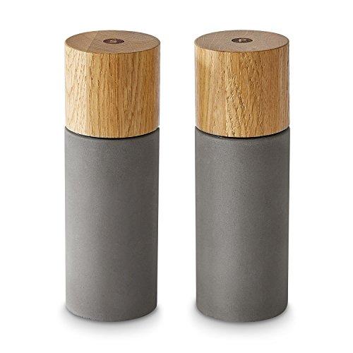 Salz Pfeffermühle 2er Set aus Eichenholz Beton  Gewürzmühle Chilimühle Verstellbares Keramikmahlwerk Unbefüllt Skandinavisches DesignPepita