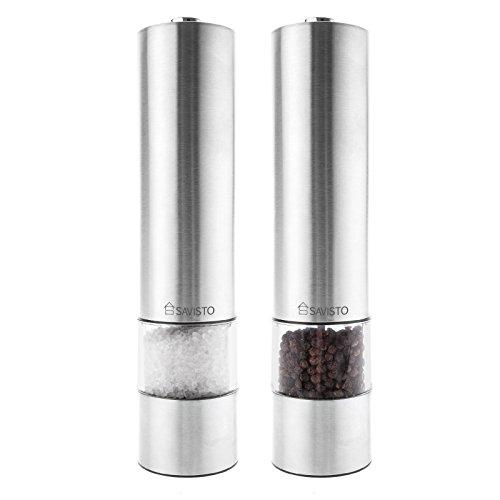 Savisto Leuchtendes Elektronisches Salz Pfeffer Mühlen Set Paar - Edelstahl - Verbesserter Modell