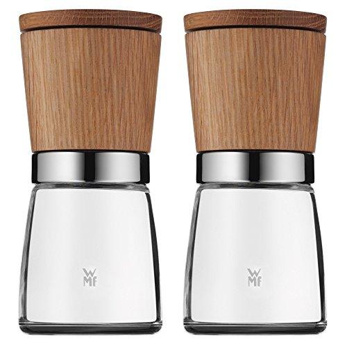 WMF Ceramill Nature Gewürzmühle Set 2-teilig unbefüllt Holz Glas Keramikmahlwerk Mühle für Salz Pfeffer Chillischoten H 14 cm