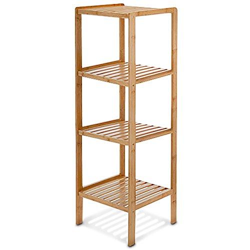 Relaxdays Badregal Bambus HBT 110 x 33 x 33 cm Schickes Bambusregal mit 4 Ablagen aus natürlichem Holz Standregal als Küchenregal oder Holzregal zur Aufbewahrung und Lagerung im Badezimmer natur
