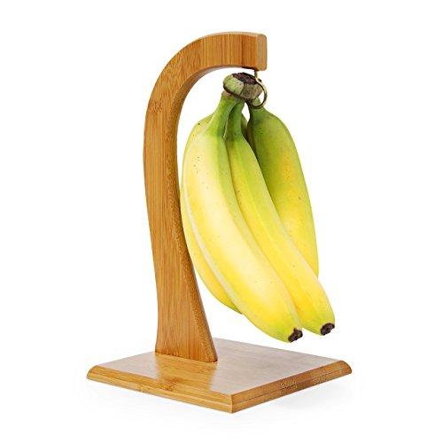 Relaxdays Bananenhalter SHELDON HBT 285 x 16 x 16 cm dekorativer Bananenständer aus Bambus für die Küche zum Aufhängen von Bananen Weintrauben Tomaten und anderem Obst stabiler Obstständer natur