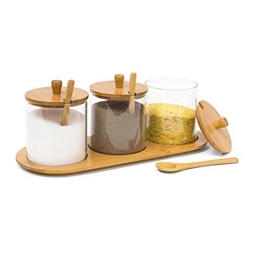 Relaxdays Gewürzgläser JIAO HBT 12 x 31 x 12 cm Bambus Gewürzhalter für 3 Gewürzbehälter aus Glas mit passenden Löffeln als Alternative zu Gewürzständer und Gewürzregal für Küche und Esstisch natur