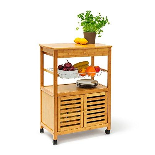 Relaxdays Küchenrollwagen XL Hx B x T 80 x 60 x 35 cm James Bambus Sevierwagen mit Schublade als rollbarer Küchenwagen aus Holz mit großer Ablage und Korb für Geschirr als mobiler Rollwagen natur