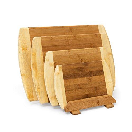 Relaxdays Schneidebrett aus Bambus 4-er Set mit Ständer Küchenbretter in verschiedenen Größen 2-farbiges Holz beidseitig nutzbar und messerschonend als Frühstücksbrettchen und Servierbrett Holz natur