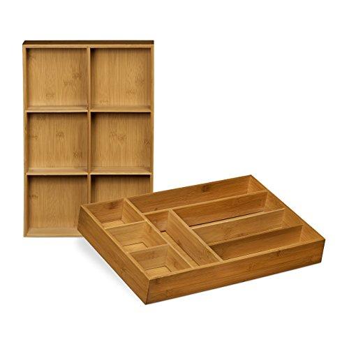Relaxdays Schubladeneinsatz aus Bambus 2er Set H x B x T ca 65 x 305 x 46 cm Küchenorganizer mit herausnehmbaren Trennwänden Schubladenkasten als Besteckkasten nutzbar Schubladenorganizer natur