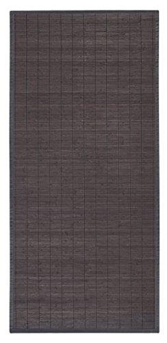 andiamo Bambusteppich ökologischer Läufer aus 100 Bambus schadstoffgeprüft geflochtener Bordürenteppich in 4 Größen für Wohnzimmer Küche Bad UVM FarbeGrau-Braun Größe65 x 140 cm